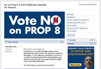 No On Prop 8 on Facebook