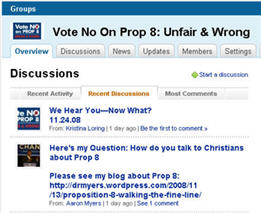 No On Prop 8 on LinkedIn