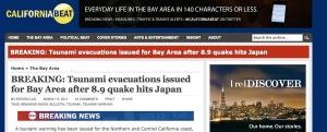 Tsunami evacuations on California Beat -- later retracted