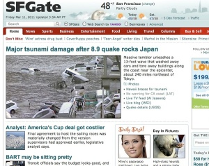 SFGate in the early morning on March 11, 2011