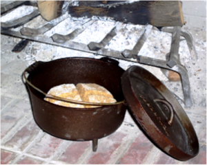 Soda bread cooking in a heavy pot on the fire, from http://kitchenproject.com/history/IrishSodaBreads/